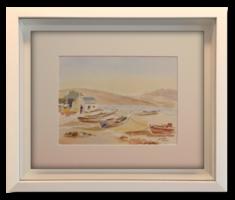 'Csónakok a parton', 2000 - Hangulatos akvarell alkotás nyugat-európai művésztől