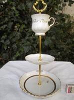 Porcelán - JELZETT - aranyozott - sütitartó  különleges porcelán  38 x 20 cm