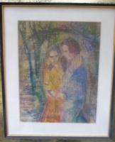 Szerelmesek a szabadban - pasztell kerettel, 38x32 cm (színes krétakép, lágy, finom, intim)
