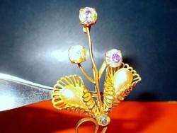 Csepp Gyöngy Ékköves Tűz aranyozott Virág Kitűző-Bross 6 cm-es!