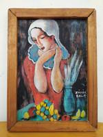 Régi olaj karton szép másolat Kádár Béla szignált festmény fenyő léc keretben Nem eredeti! Nr 22.