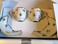 Hollóházi porcelán két személyes mokka csésze szett . ÚJ !