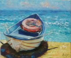 Antyipina Galina: Csónak, olajfestmény, vászon, 25x30cm