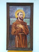 1968 olaj farost szignált ferences szerzetest ábrázoló festmény keretében keresztény Nr 60.