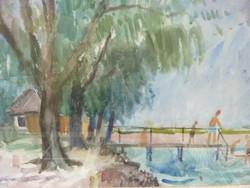 Somogyi Imre: Balatonlelle, 1958, akvarell kerettel 54x68 cm (fürdőzés, strand, tó, tavi, víz, nyár)