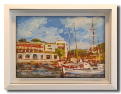Bánfi József (1936- ) Smokvicai hajókikötő - Kellemes, nyarat idéző alkotás a 70-80-as évekből