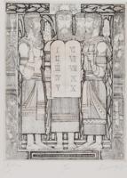 KASS JÁNOS: Képek az Ótestamentumból I (rézkarc+keret 44x62 cm) Biblia, vallási, ornamentális