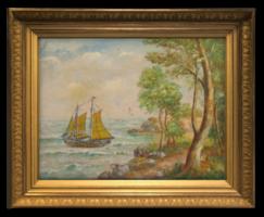 'Kétárbócos vitorlás a partközelben sirályokkal' - Régi olajkép az 1800-as évekből Nyugat-európából