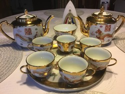 Antik kinai teás, kávés készlet, 2 kanna 6 csésze, 1 kis tál és tálca (400)