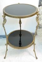 Empire stílusú lerakó asztalka üveglappal, réz díszítménnyel