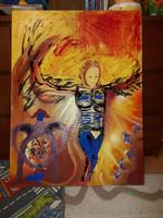 Harcos angyal, festmény, 60x80, olaj, és egyebek, vászon