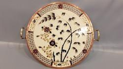 Antik Zsolnay bambusz mintás, réz keretes tálca, kínáló