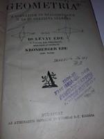 30-as évekből tankönyv -GEOMETRIA A gimnáziumok és reálgimn. II.és III.osztálya számára(matematika)