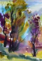 Kis Béla: Erdő (akvarell-papír) 60x40 cm