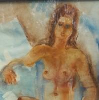 Napozó nő akvarell