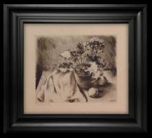 Kiss Terézia (1928- ): Cserepes virág - Szép, fekete-fehér rézkarc alkotás a 60-70-es évekből