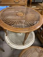 Dohányzóasztal Neo barokk üveg lappal a tetején