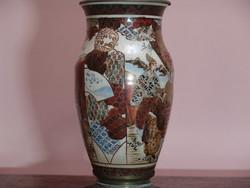Nagyméretű Satuma porcelán petróleum lámpa