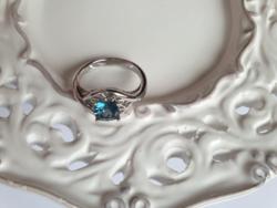Pazar, csillogó londoni kék topáz ezüst gyűrű