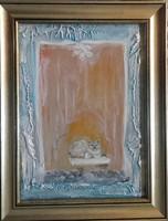 A cica és az otthon melege .(30x22,5cm-es porcelánmasszás kép).Károlyfi Zsófia Prima djas alkotótól.