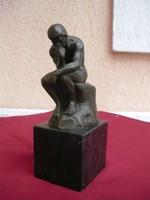 Eredeti Francia pecsétes bronzszobor, AUGUSTE  RODIN a gondolkodó!  LEÁRAZVA!