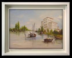Halászbárkák a kikötőben - Szépen, jó színvilággal megfestett alkotás nyugat-európai művésztől