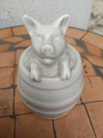 BUÉK !Porcelán  malac hordóban, kitúrja a szerencsét!Szerencse hozó!