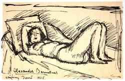 Czigány Dezső: Fekvő nő, 1925 - eredeti műlap az Alexander-albumból