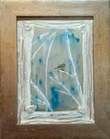 Tél kékcinkével, 30x22,5 cm-es kép,Károlyfi Zsófia Prima djas alkotótól.