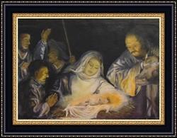 'Jézus születése' - Szépen megfestett bibliai jelenetet ábrázoló olaj-vászon alkotás