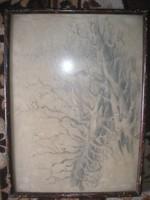 N1 Antik 2 db művészi szénrajz erdőrészlet elől üveglapos