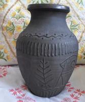 Erdélyi fekete kerámia váza (vintage / retro)
