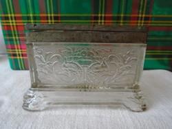 Szecessziós antik üveg valamilyen tároló edény . cca 1920 masszív ez még munka volt