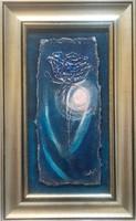 Egy rózsa Holdfényben. A rose in moonlight. 24x18 cm-es parafára készült alkotás.Károlyfi Zsófia