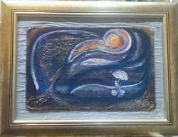 Szél. 20x30 cm-es+paszpartu, porcelánnal domborított parafa kép. Károlyfi Zsófia Prima díjas alkotó
