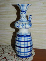 Ritka Orosz Gzhel porcelán figurális váza