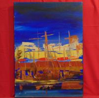 Vitorlások alkonyatkor - Különleges technikával és jó színvilággal megfestett alkotás, 70 x 50 cm