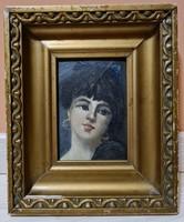 Különleges hangulatú antik miniatür festmény Fiatal Hölgy