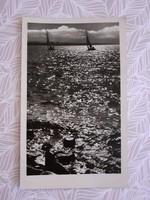 Régi képeslap Balaton vitorlás hajó