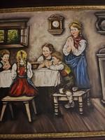 Kép óra Szignált Imádkozó gyermekek a családdal !