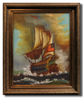 Lángba borult csatahajó - Nagyon szépen megfestett olaj-vászon alkotás külföldi művésztől