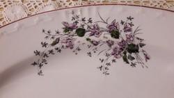 Ibolyás porcelán, virág mintás, gyönyörű régi tálaló, Gyűjtői darab, tál, asztalközép, kínáló