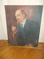 Eredeti régi jelzett lenin olaj vászon festmény a szocializmusból