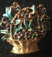 KITŰZŐ -Virágkosár-BIZSU--zománcozott  22 kar.aranyozott fém
