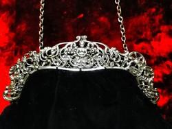 Antik, ezüst szerelékes, londoni, kívül bársony - belül selyem színházi táska, gyönyörű állapotban