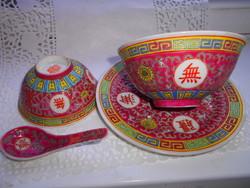 4 db-os Kínai aprolékosan kézzel festett porcelán