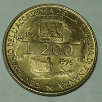 200 Lira 1996 Olaszország KM#184- Forgalmi emlékérem