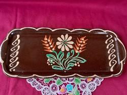 204/1 Régi népi kézzel festett kerámia süteményes tál 37x15 cm