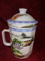 Japán porcelán, teafőző pohár, szűrővel, magassága 14 cm.