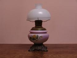Antik asztali porcelán petróleum lámpa